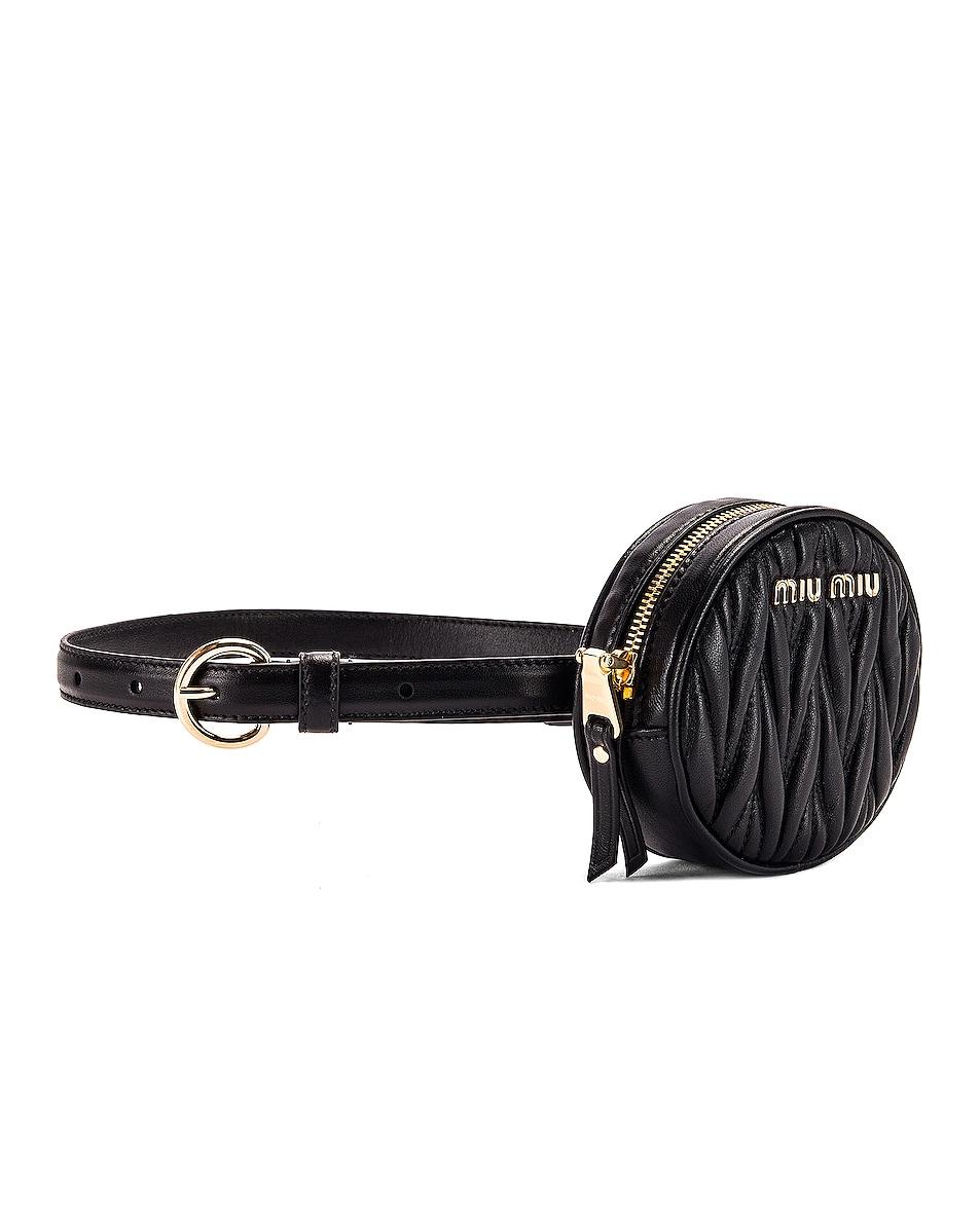 Image 4 of Miu Miu Quilted Circle Belt Bag in Black