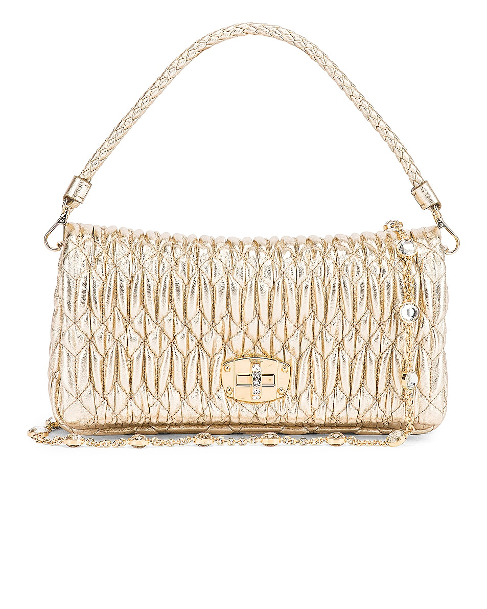 Image 1 of Miu Miu Crystal Chain Bag in Gold