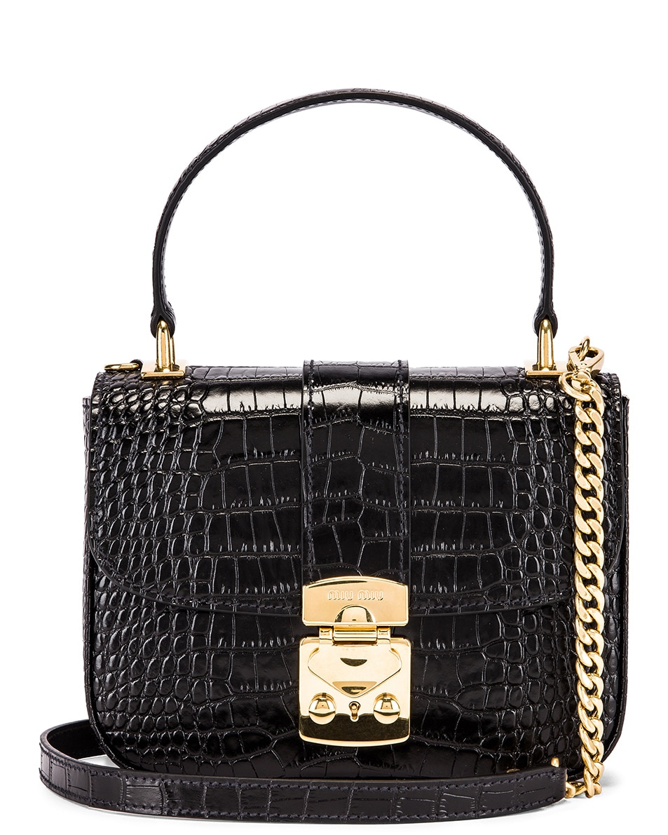 Image 1 of Miu Miu Croc Crossbody Bag in Black