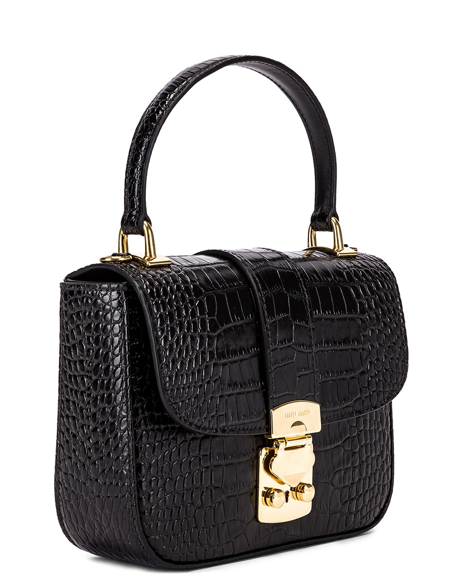 Image 4 of Miu Miu Croc Crossbody Bag in Black