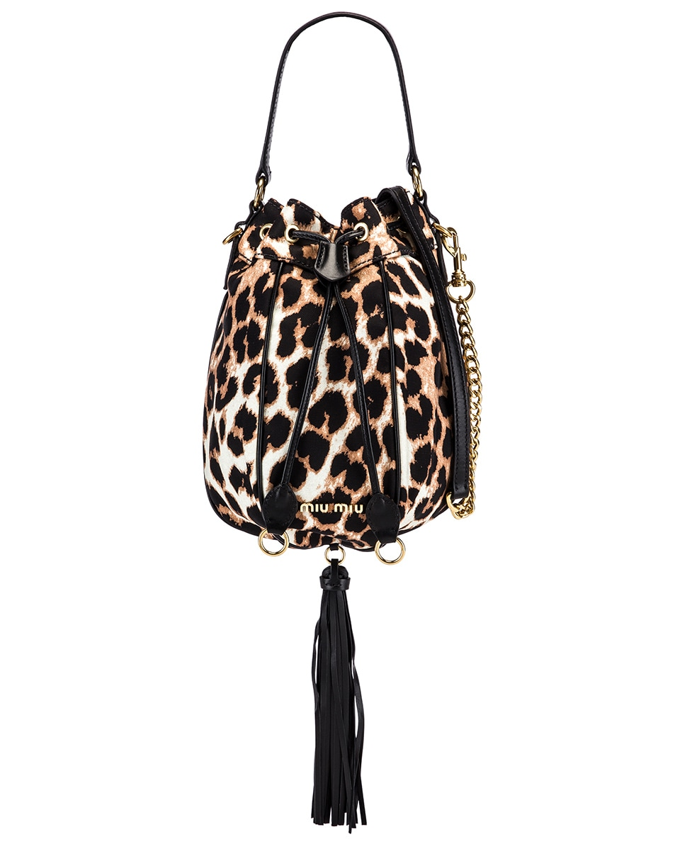 Image 1 of Miu Miu Leopard Pouch Bag in Ivory