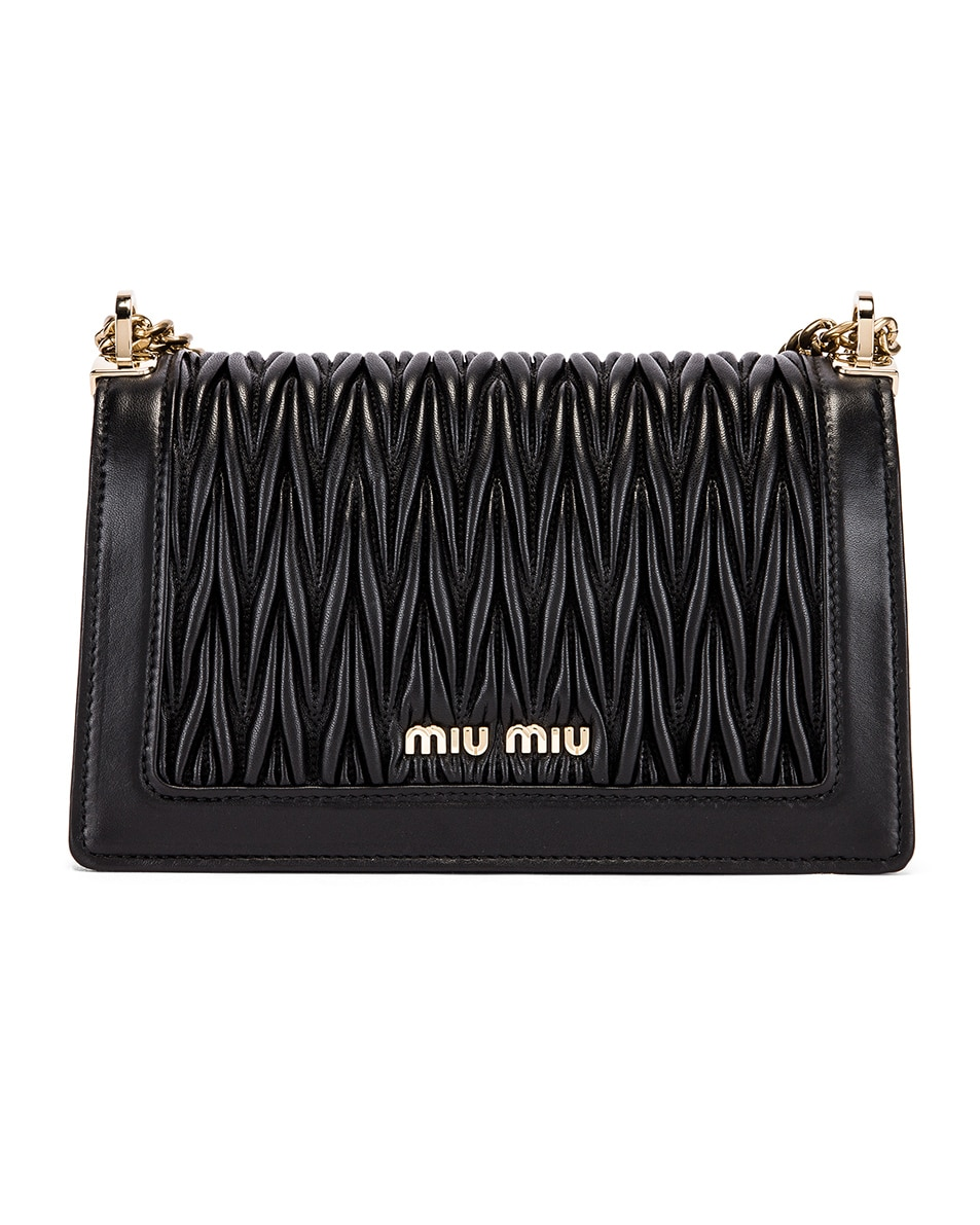Image 3 of Miu Miu Quilted Leather Bag in Black
