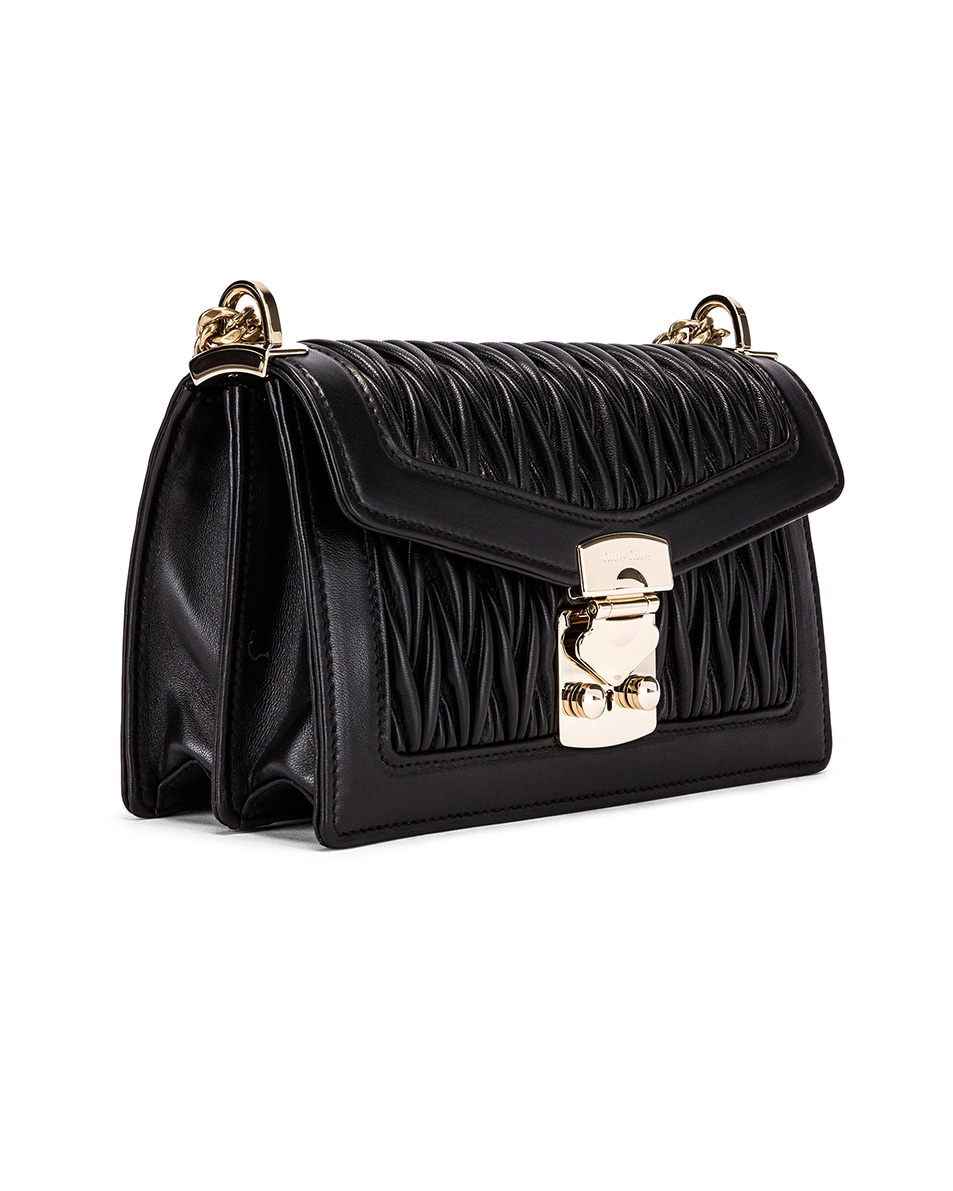 Image 4 of Miu Miu Quilted Leather Bag in Black