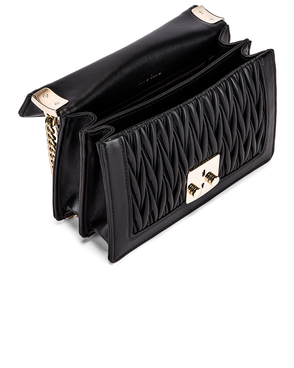 Image 5 of Miu Miu Quilted Leather Bag in Black