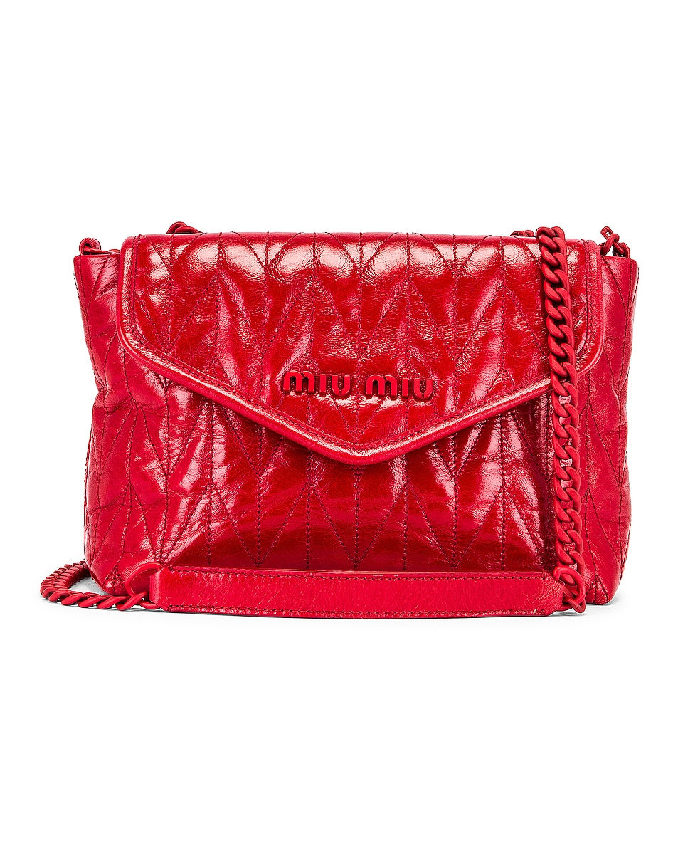 Image 1 of Miu Miu Leather Shoulder Bag in Red
