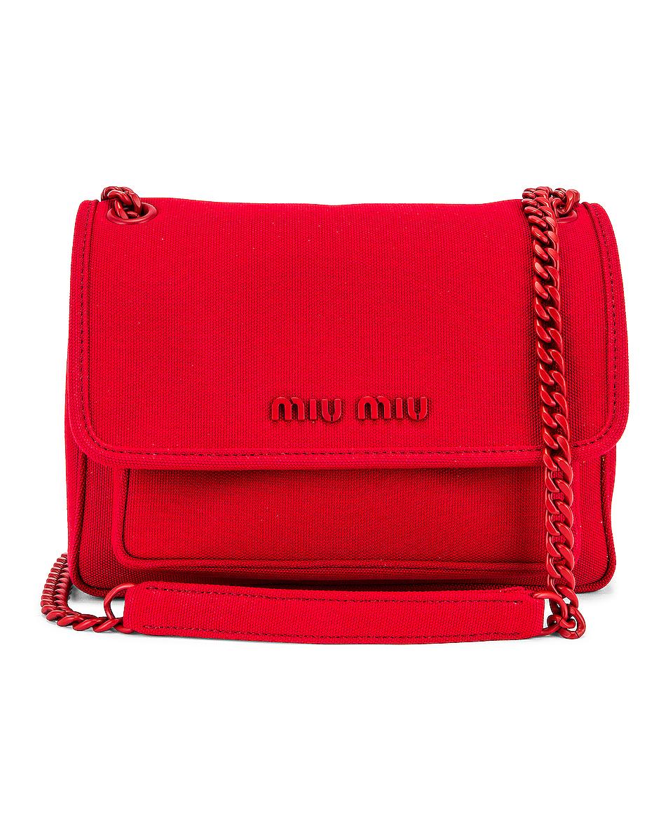 Image 1 of Miu Miu Leather Crossbody Bag in Rosso