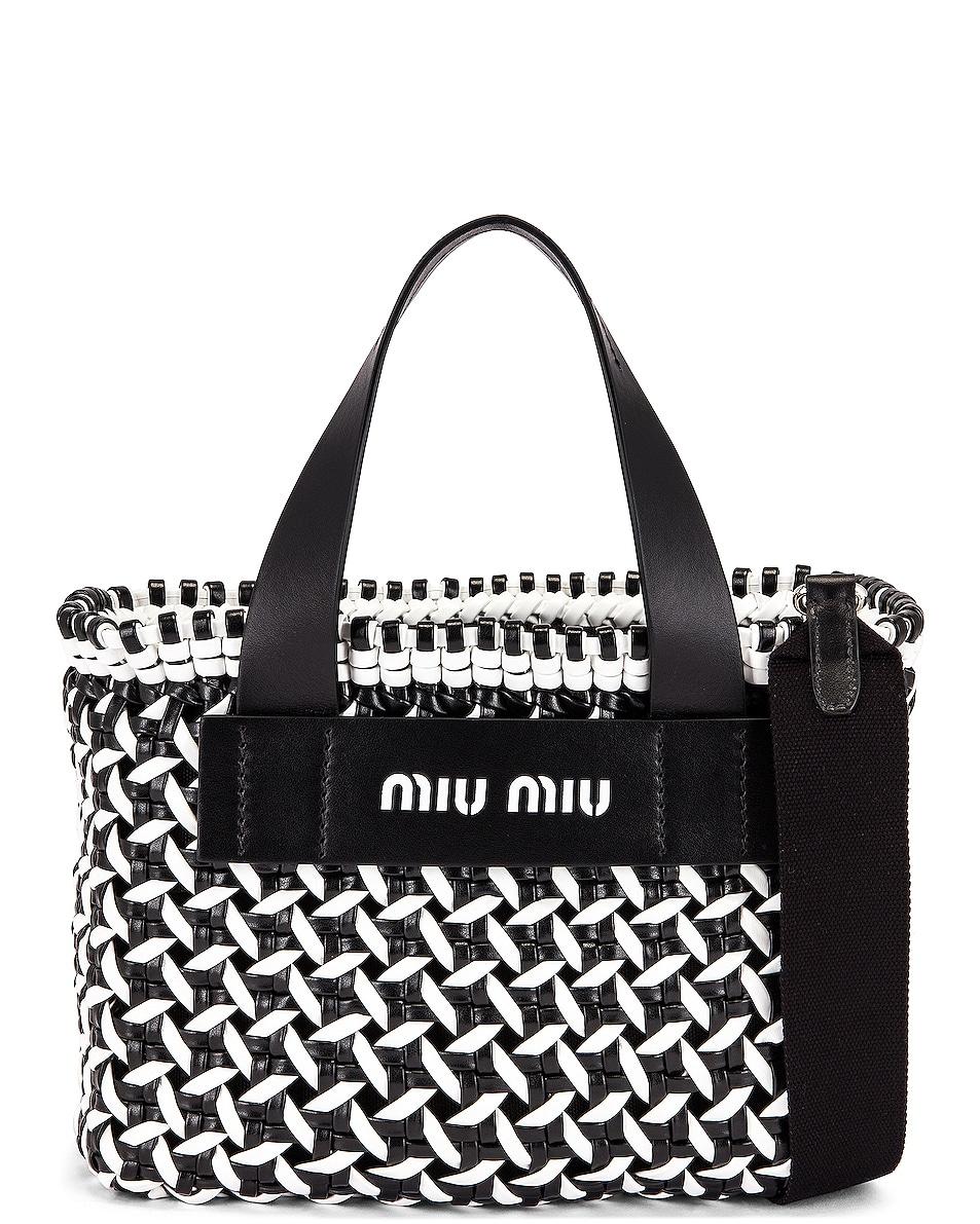 Image 1 of Miu Miu Straw Shoulder Bag in Black & White