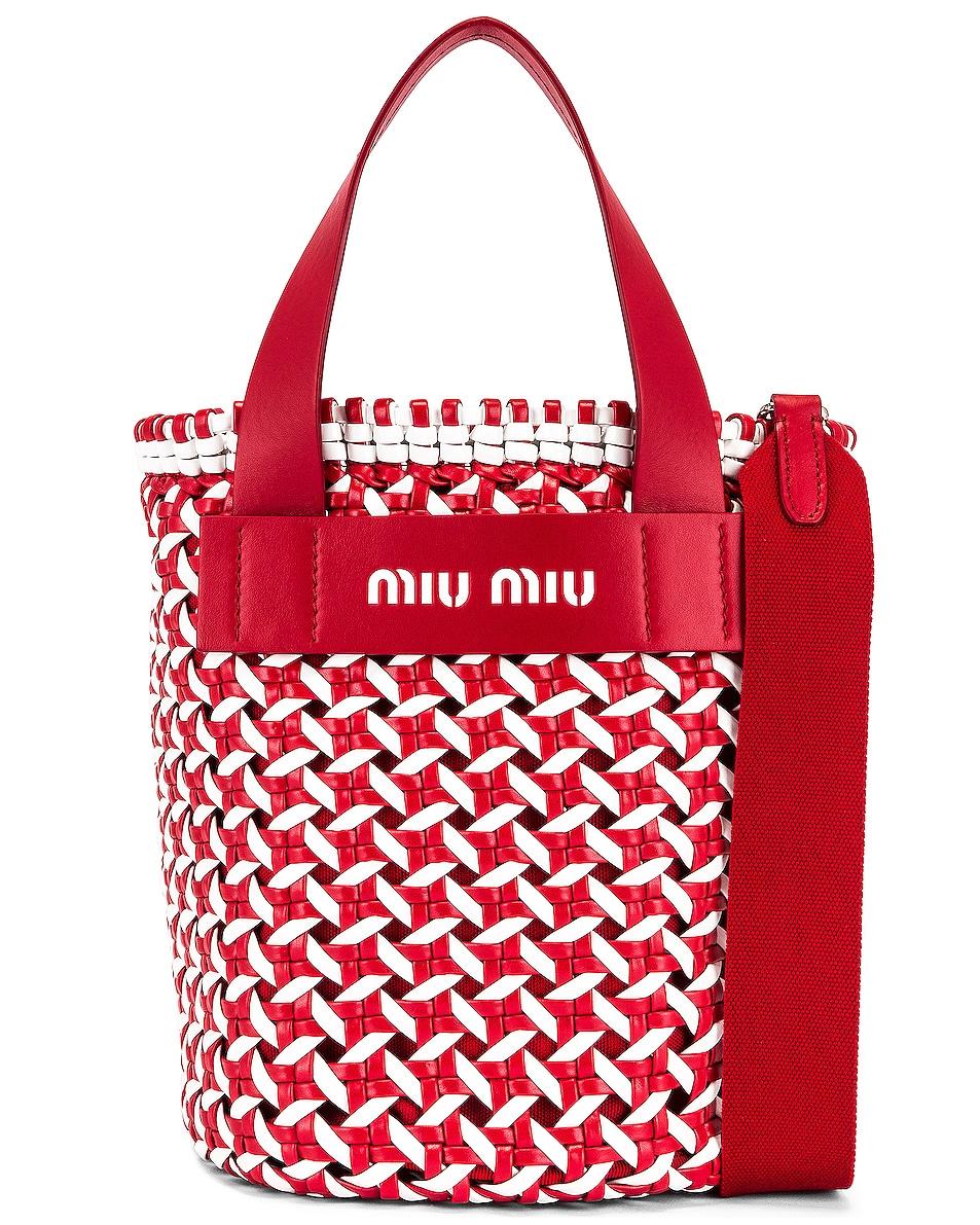 Image 1 of Miu Miu Straw Bucket Bag in Red & White