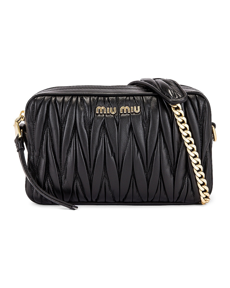 Image 1 of Miu Miu Leather Camera Bag in Black