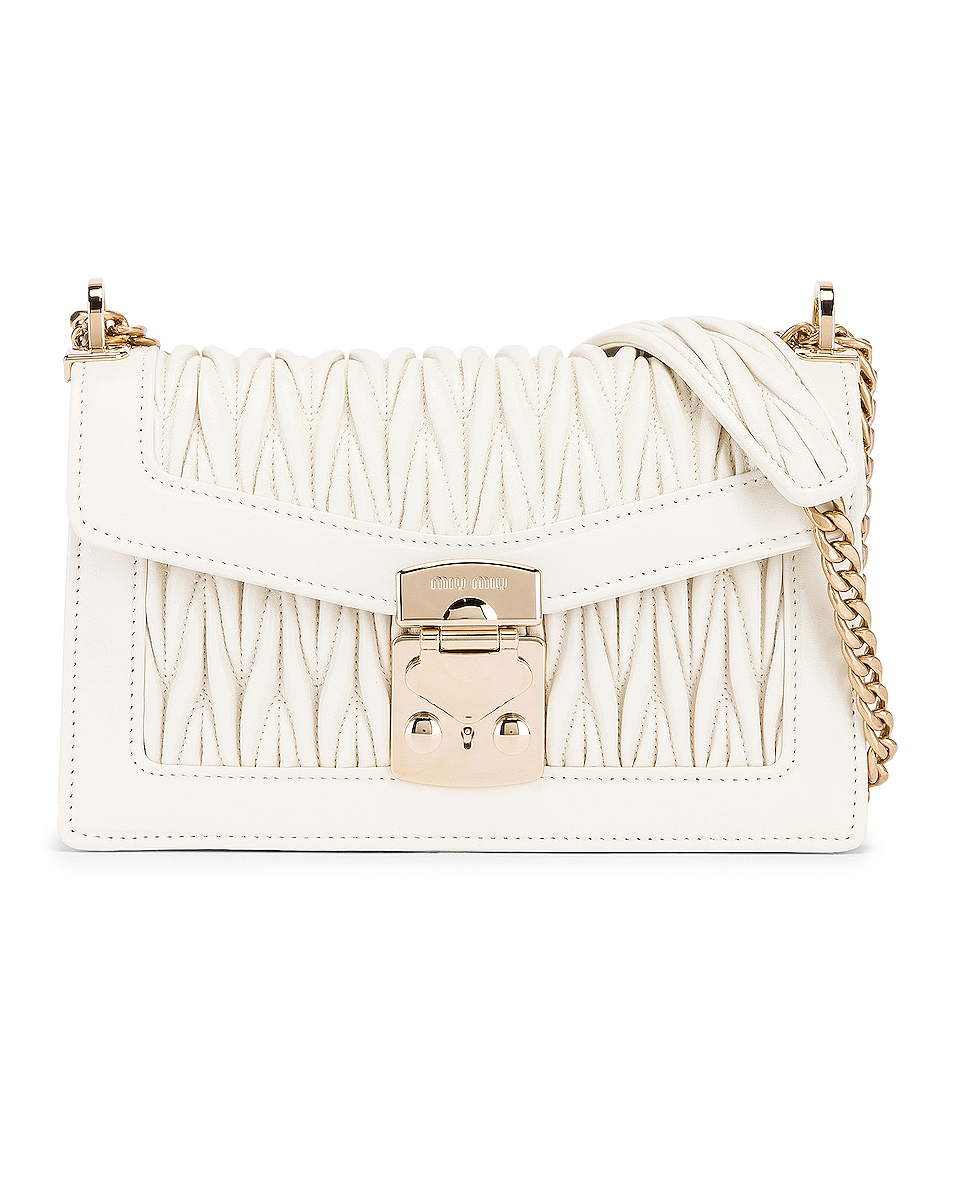 Image 1 of Miu Miu Quilted Leather Bag in White