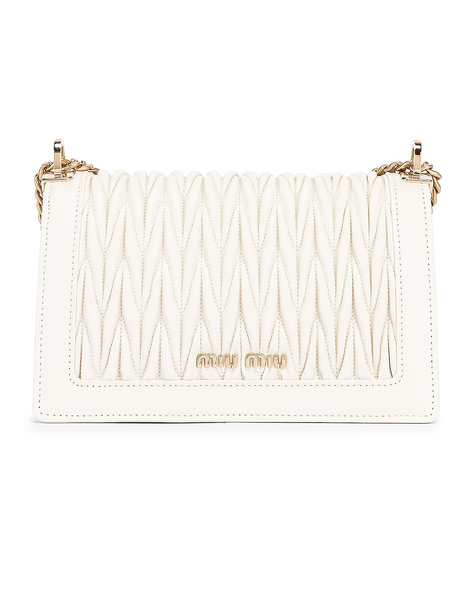 Image 2 of Miu Miu Quilted Leather Bag in White