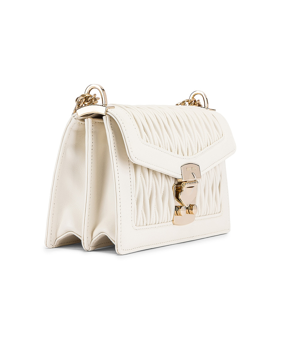 Image 3 of Miu Miu Quilted Leather Bag in White