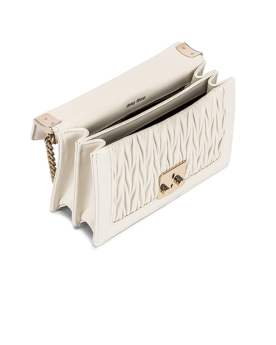 Image 4 of Miu Miu Quilted Leather Bag in White
