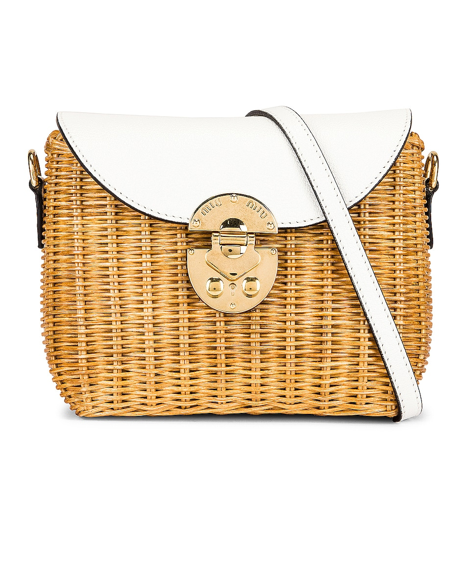 Image 1 of Miu Miu Willow Shoulder Bag in Miele & White