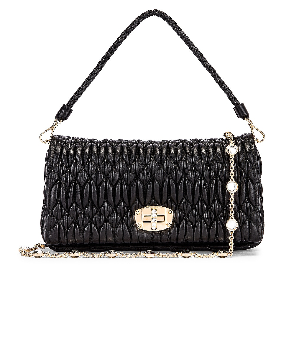 Image 1 of Miu Miu Crystal Chain Bag in Black