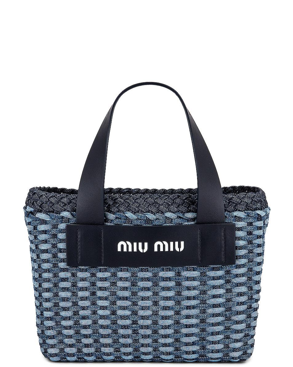 Image 1 of Miu Miu Woven Denim Tote in Bleu