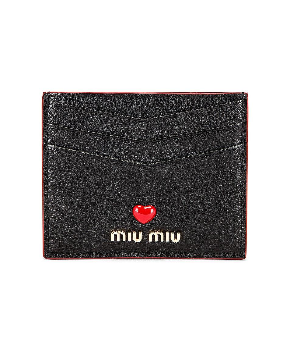 Image 1 of Miu Miu Madras Love Card Case in Nero