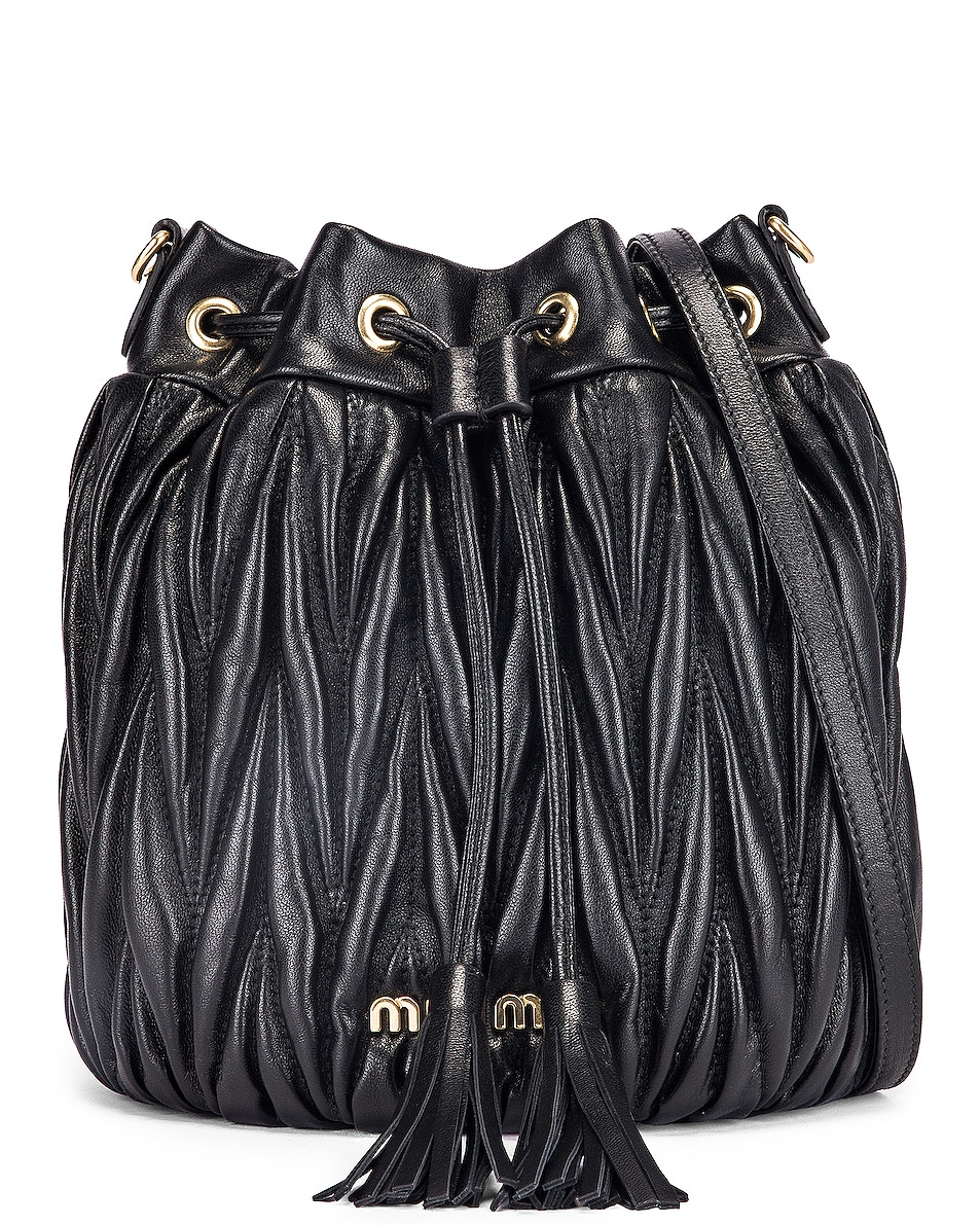 Image 1 of Miu Miu Quilted Bucket Bag in Black