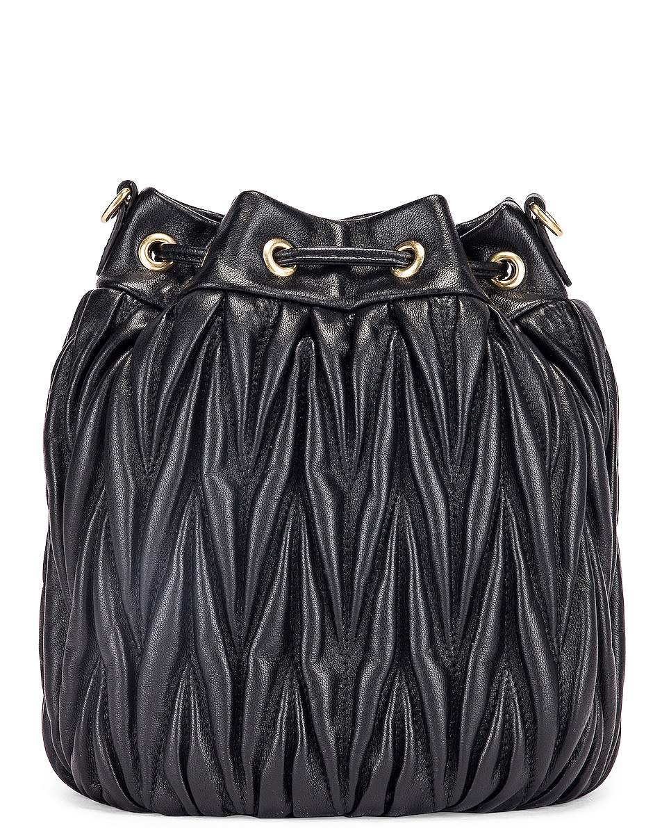 Image 3 of Miu Miu Quilted Bucket Bag in Black