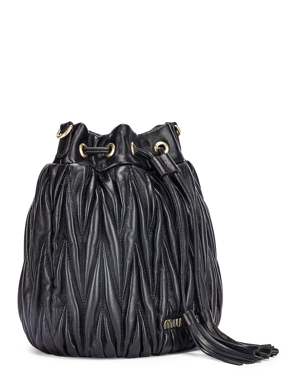 Image 4 of Miu Miu Quilted Bucket Bag in Black