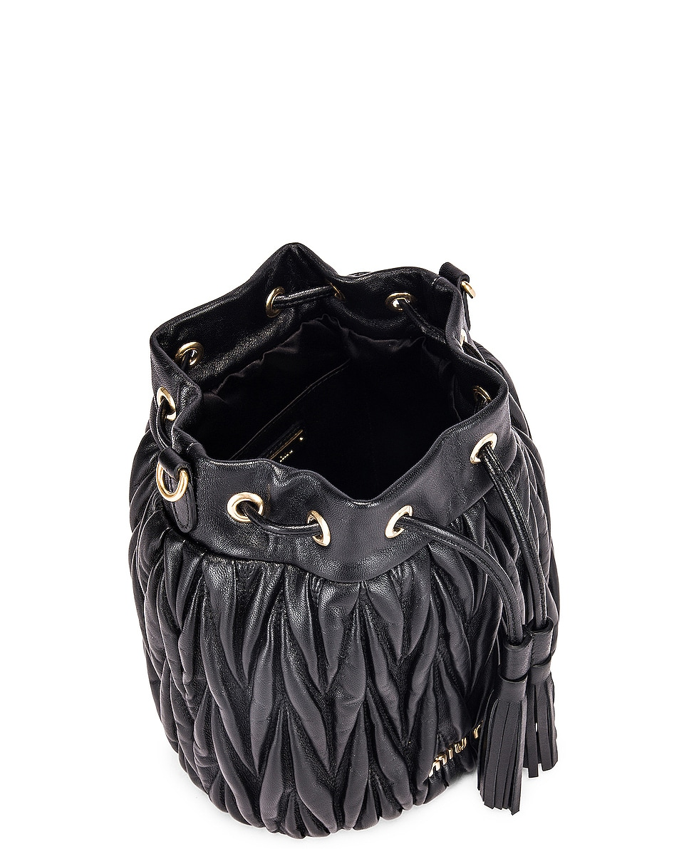 Image 5 of Miu Miu Quilted Bucket Bag in Black