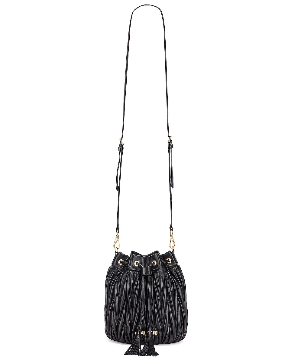 Image 6 of Miu Miu Quilted Bucket Bag in Black