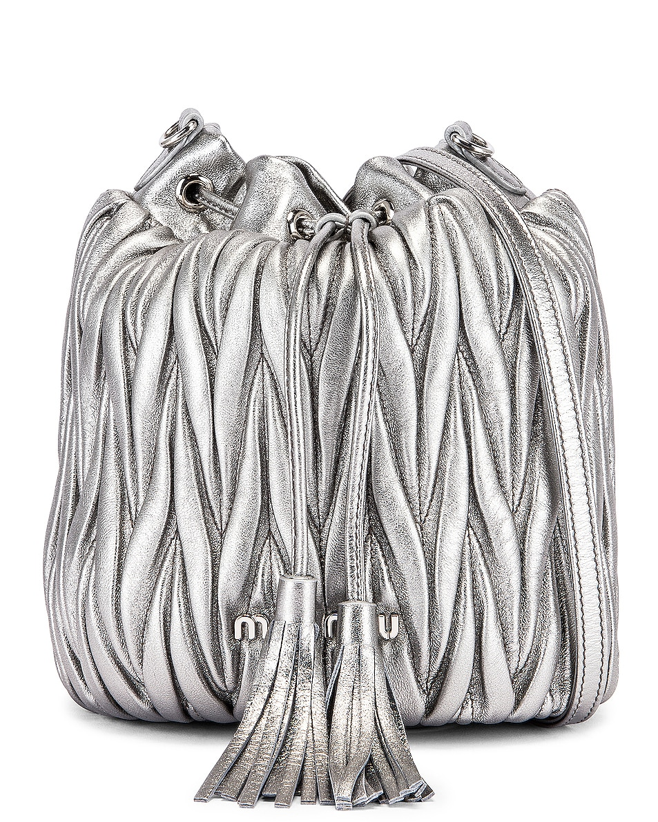 Image 1 of Miu Miu Quilted Bucket Bag in Cromo