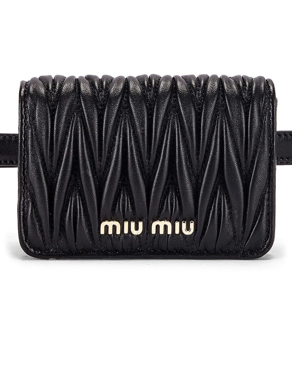 Image 1 of Miu Miu Quilted Belt Bag in Black