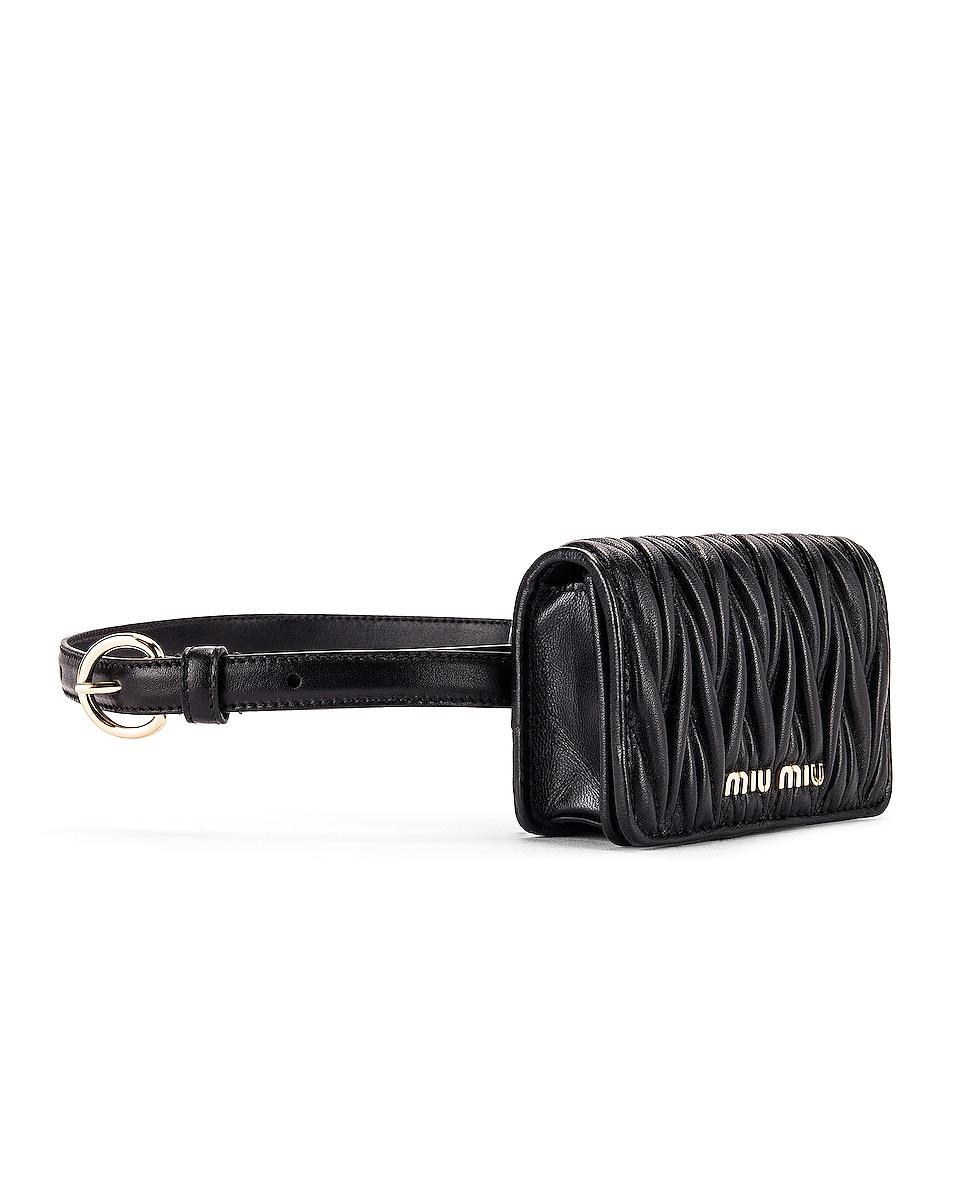 Image 3 of Miu Miu Quilted Belt Bag in Black