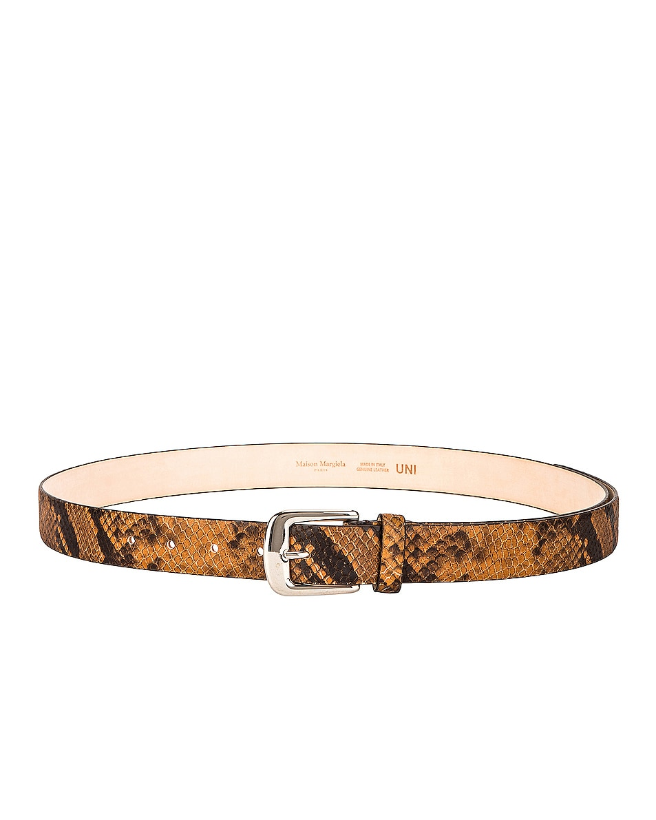 Image 1 of Maison Margiela Leather Python Belt in Brown & Black