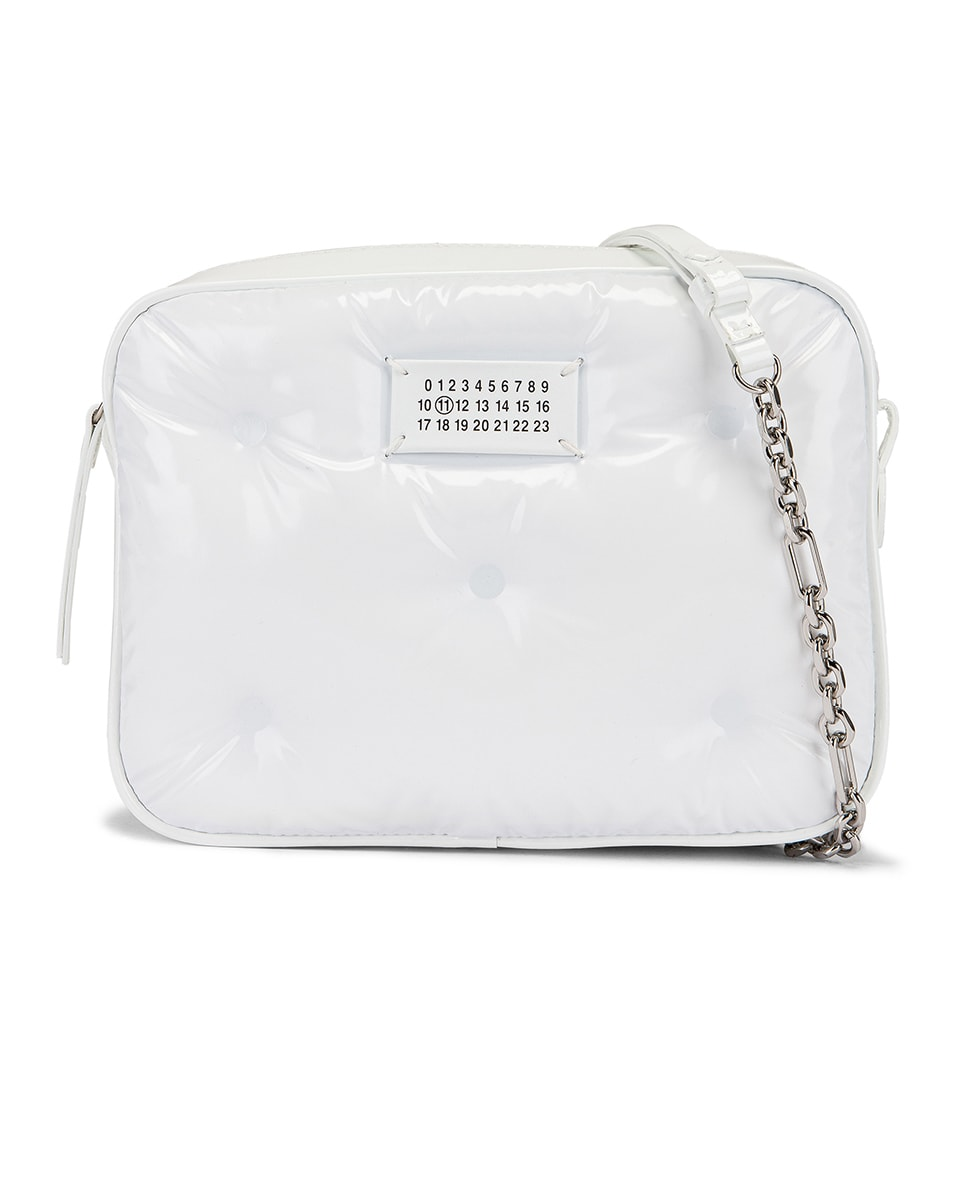 Image 1 of Maison Margiela Glam Slam Tufted Chain Crossbody Bag in White