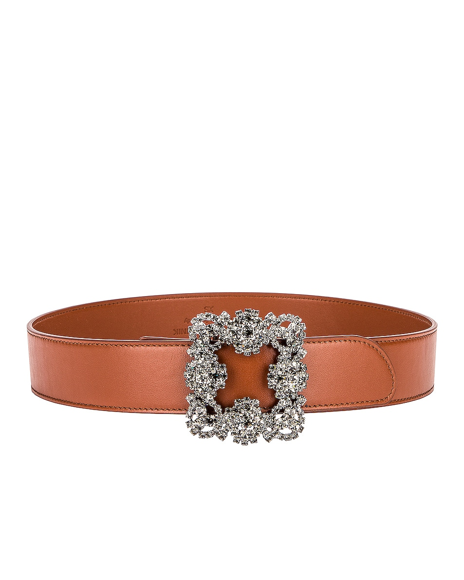 Image 1 of Manolo Blahnik Leather Hangisi Belt in Brown