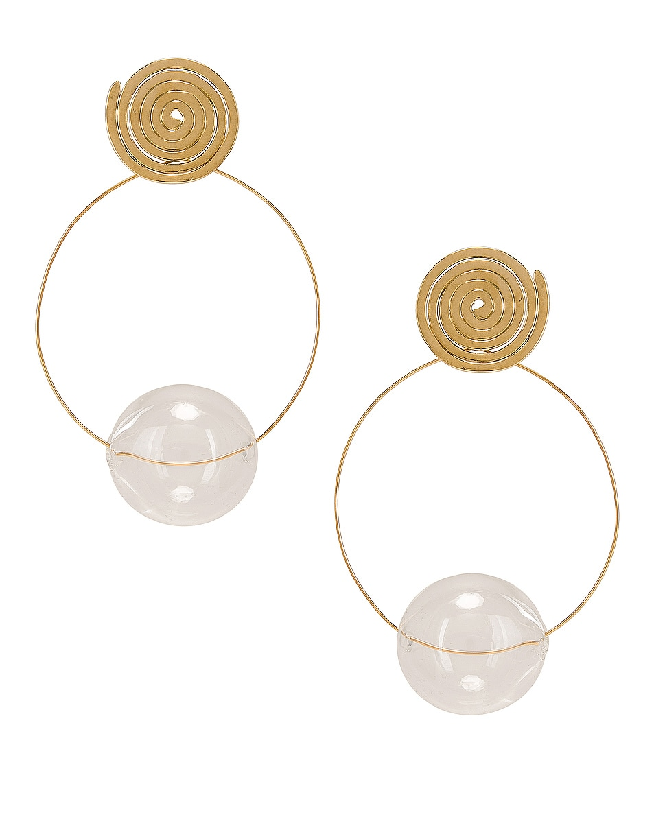 Image 1 of Modern Weaving Coil Orbital Hoops in Brass & Clear