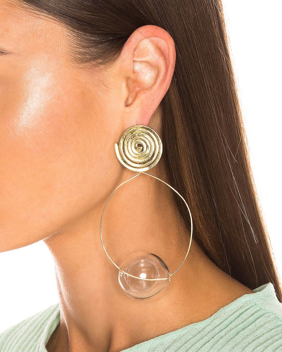 Image 2 of Modern Weaving Coil Orbital Hoops in Brass & Clear