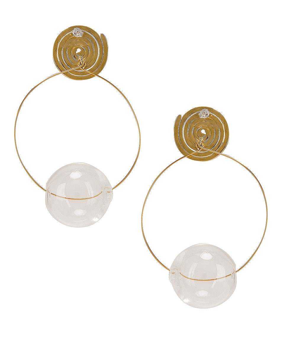 Image 4 of Modern Weaving Coil Orbital Hoops in Brass & Clear
