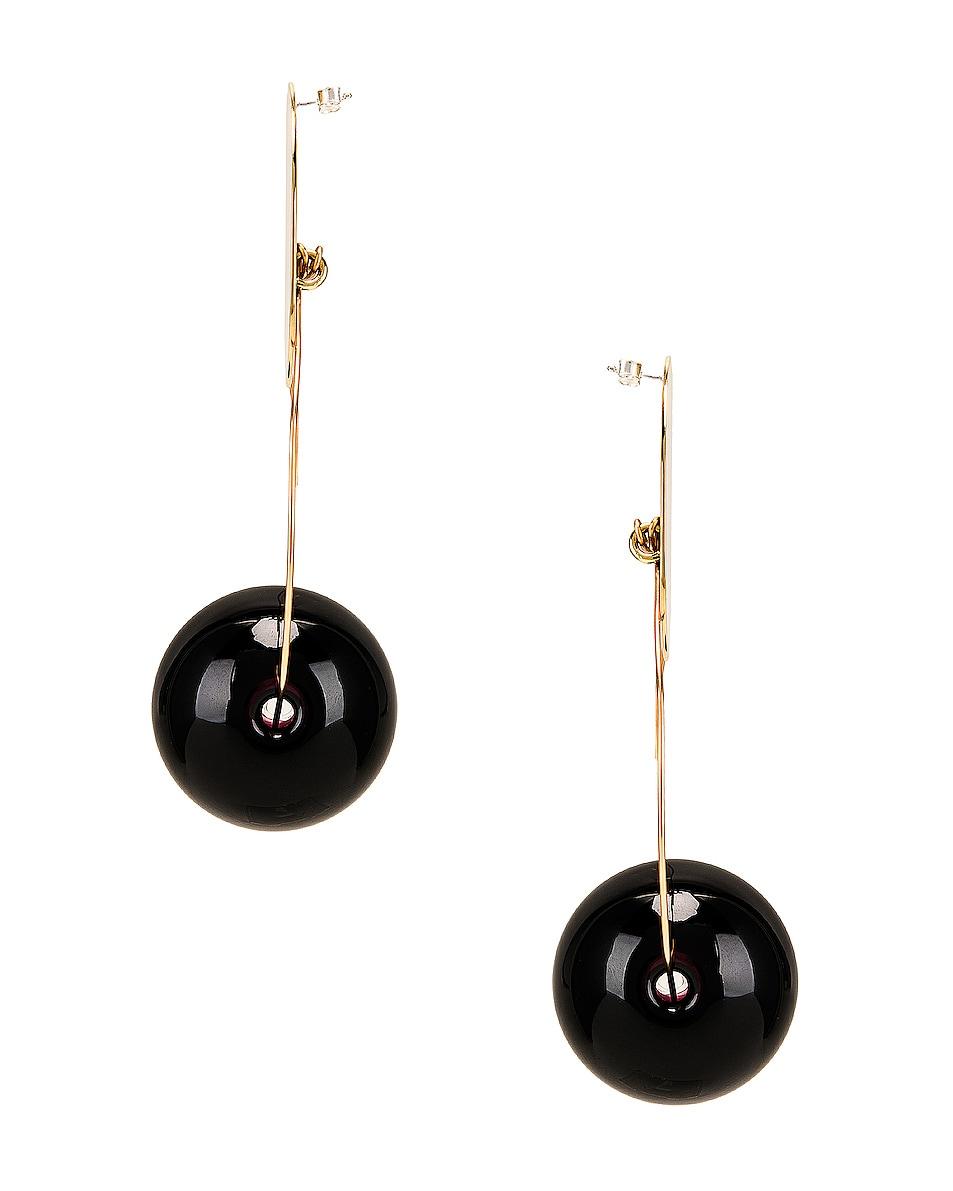 Image 3 of Modern Weaving Orb Hoops in Brass & Black