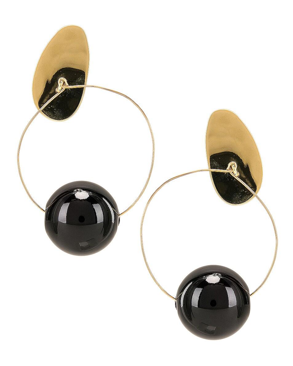 Image 4 of Modern Weaving Orb Hoops in Brass & Black
