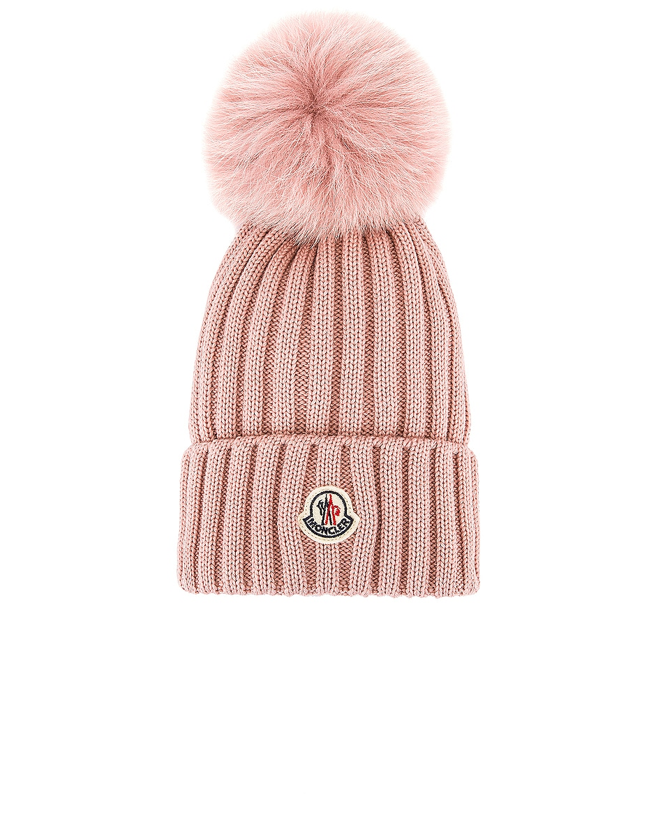 Image 1 of Moncler Berretto Tricot Beanie in Blush