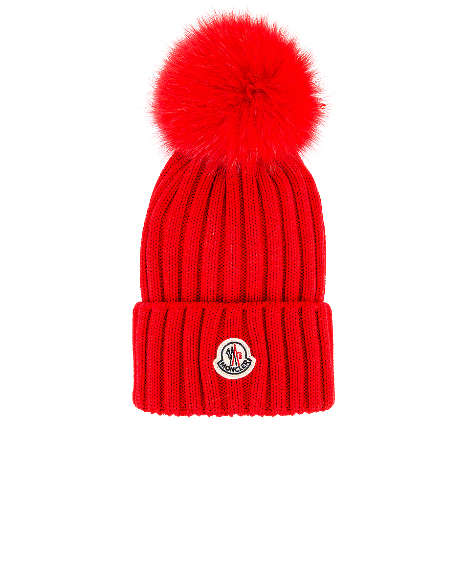 Image 1 of Moncler Berretto Tricot Beanie in Red