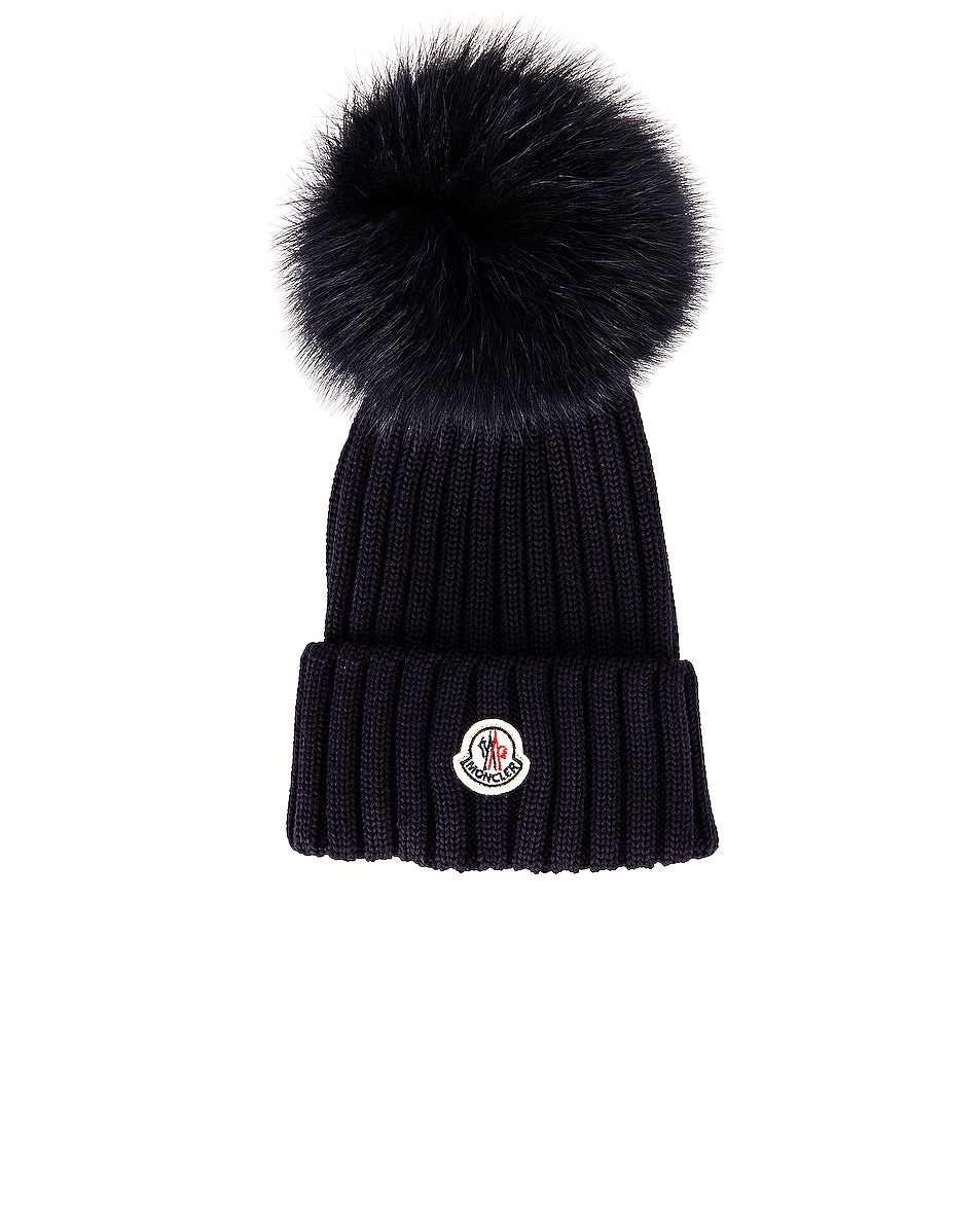 Image 1 of Moncler Berretto Tricot Beanie in Navy