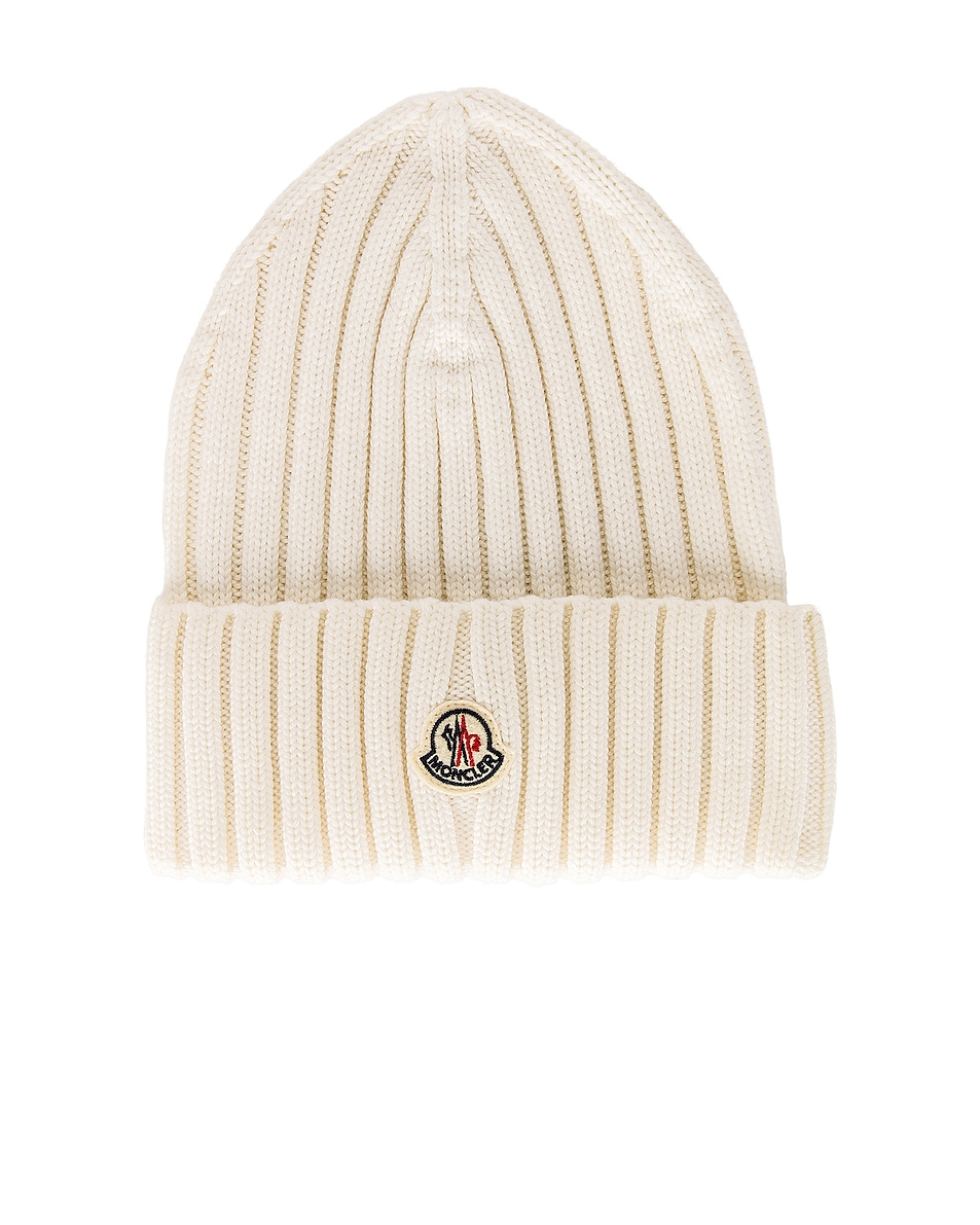 Image 1 of Moncler Tricot Beanie in White