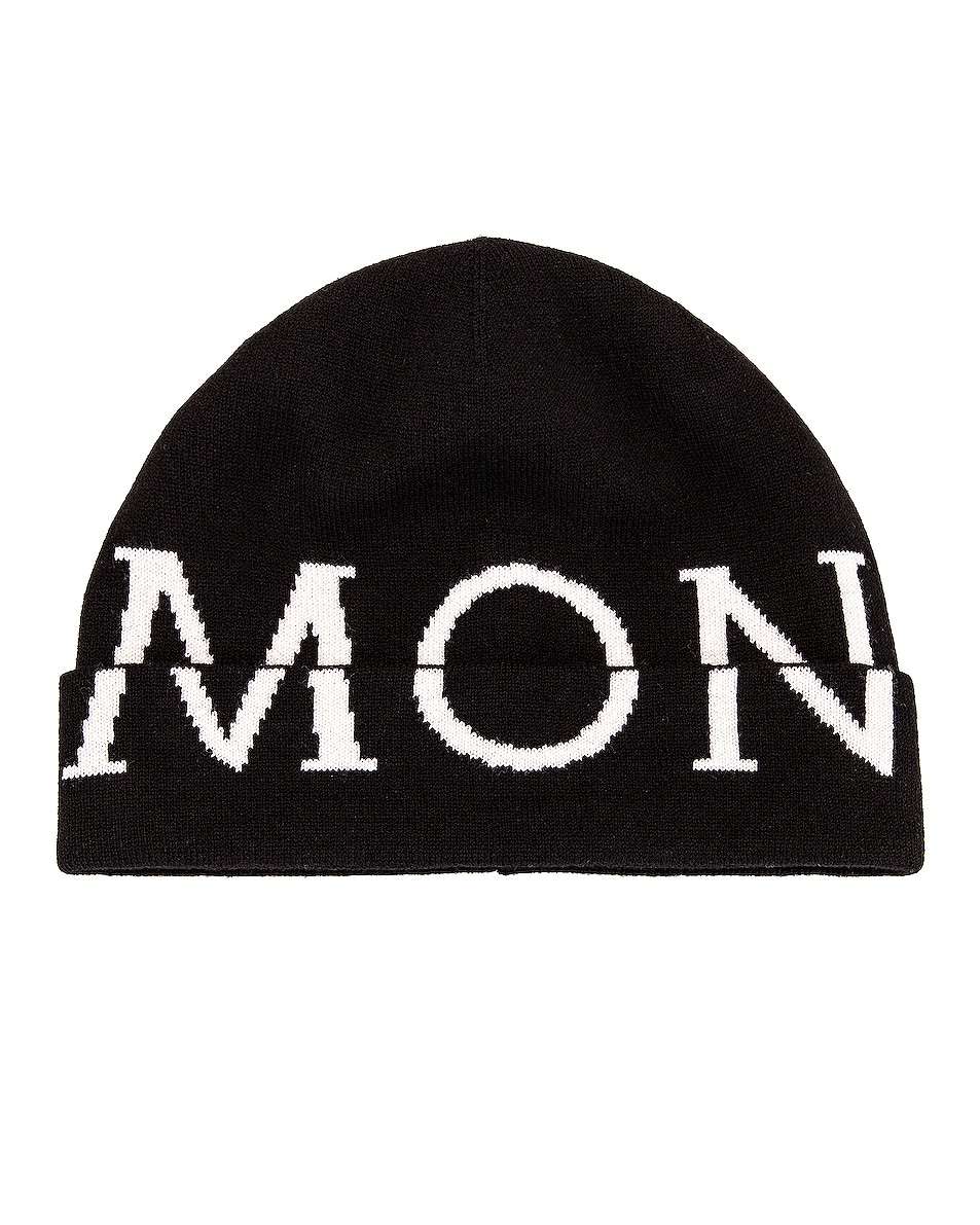Image 1 of Moncler Logo Beanie in Black