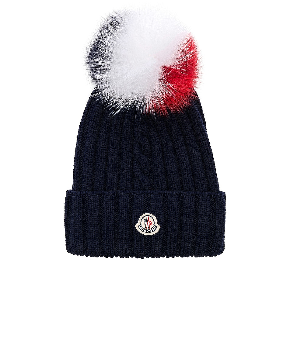 Image 1 of Moncler Beanie in Navy