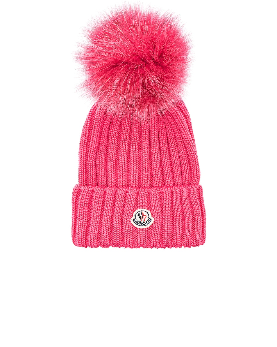 Image 1 of Moncler Pom Beanie in Pink