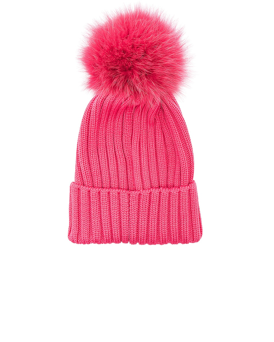 Image 2 of Moncler Pom Beanie in Pink
