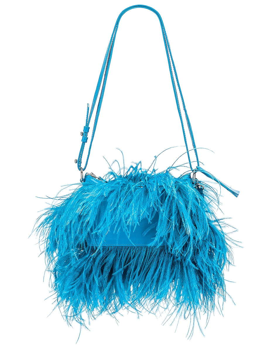 Image 1 of Marques ' Almeida Feather Bag in Turquoise