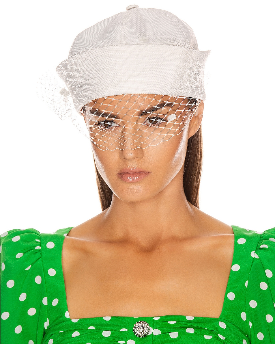 Image 1 of MARIANNA SENCHINA Sailor Hat with Veil in White
