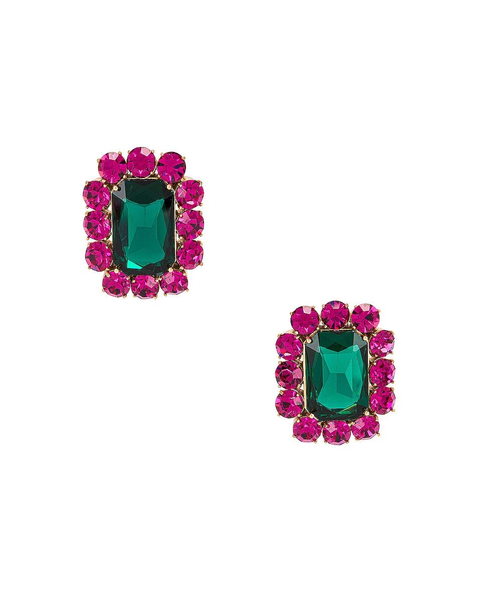 Image 1 of Ninon Square Crystal Earrings in Fuchsia & Emerald