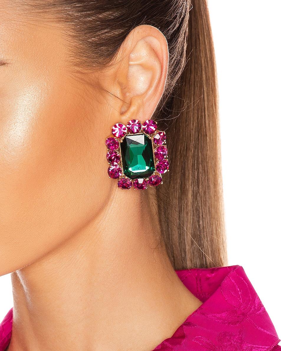 Image 2 of Ninon Square Crystal Earrings in Fuchsia & Emerald