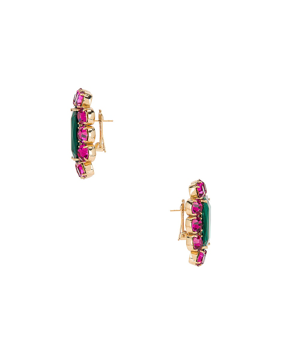 Image 3 of Ninon Square Crystal Earrings in Fuchsia & Emerald